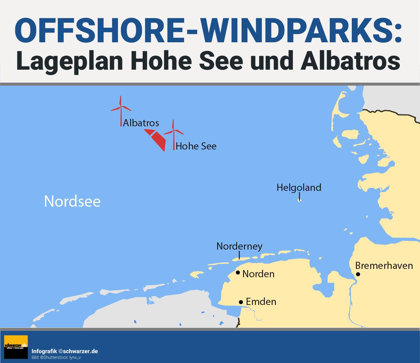 """Infografik: Lageplan der Offshore Windparks """"Hohe See"""" und """"Albatros"""" von EnBW."""